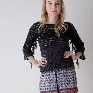 Gimmicks Festival Open Weave Fringe Sweater Top